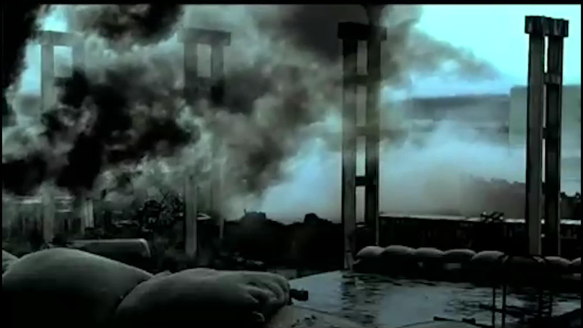 打仗现场炮火连天,双方打的很激烈,伤亡惨重