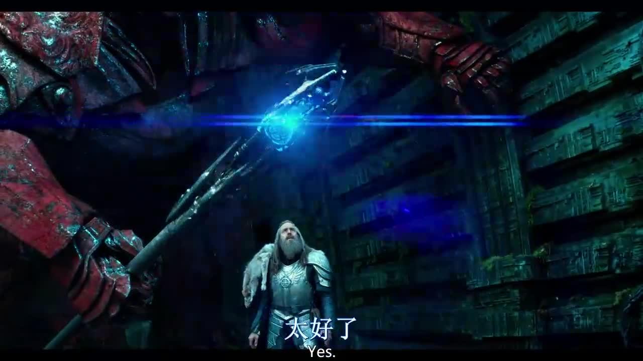 机器人把法杖交给巫师,让他召唤巨龙,赢得战争的胜利