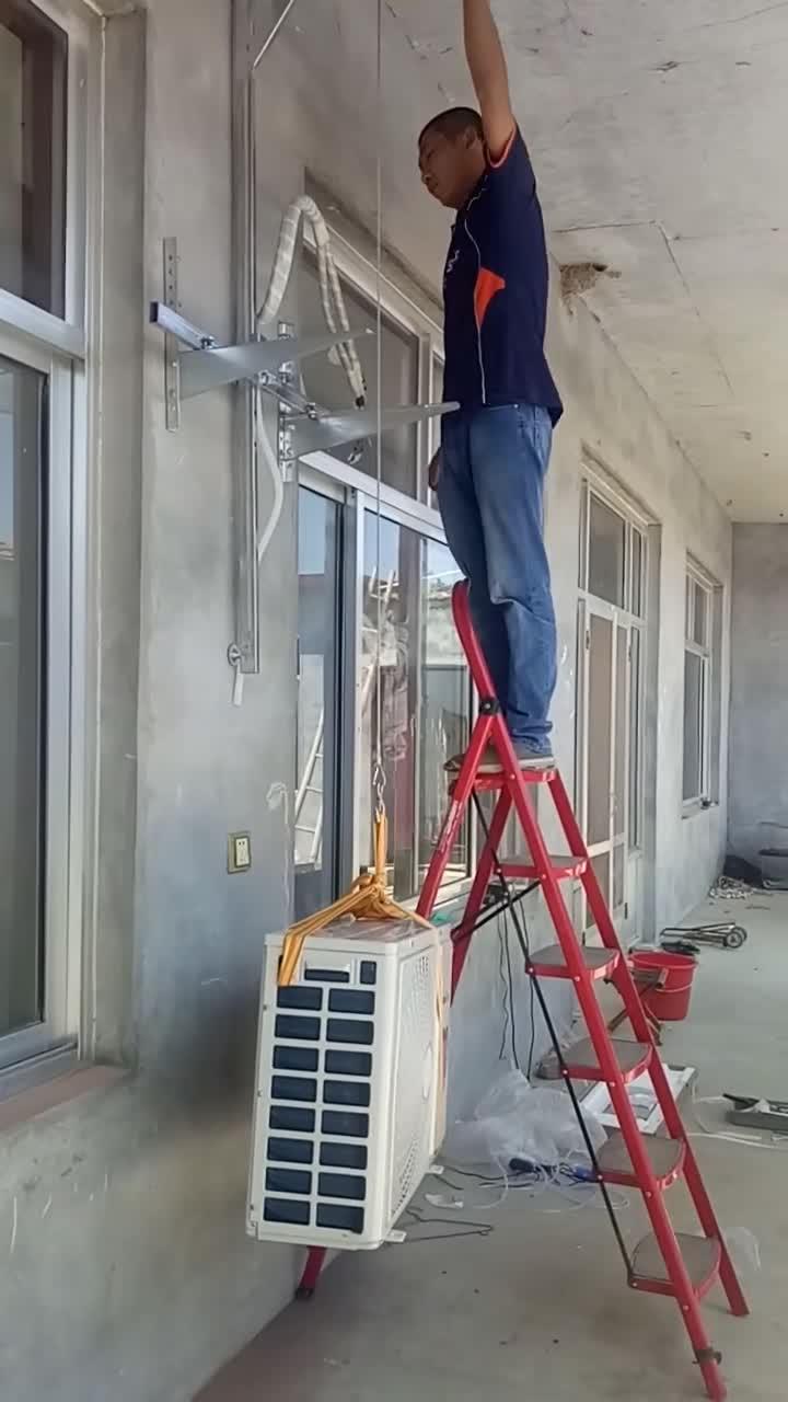 #安装空调神器#小伙自制安装空调神器,从此安然一个人就可以,太厉害!
