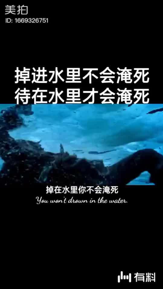 掉在水里,你不会淹死呆在水里,你才会淹死