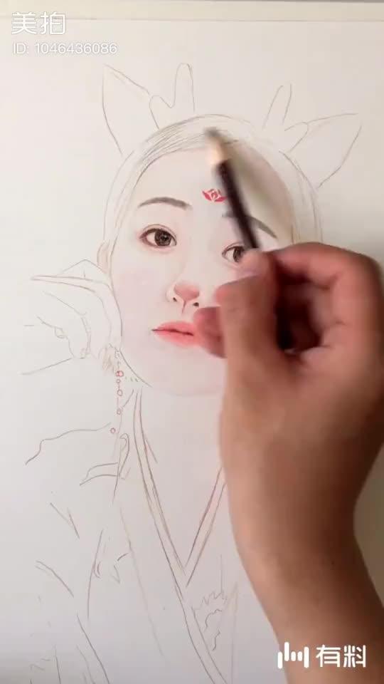 绘画过程视频 一位美女找我画的