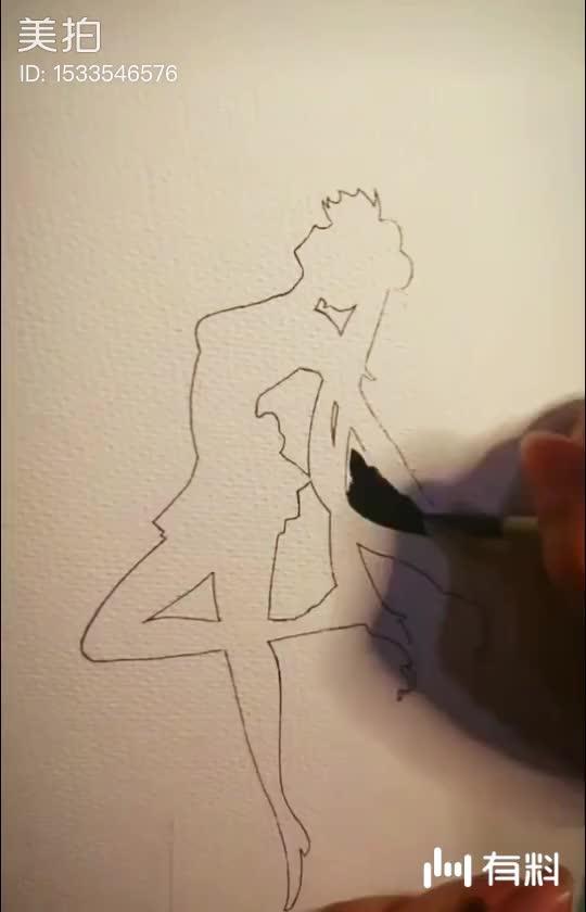 美拍视频: 水彩手绘